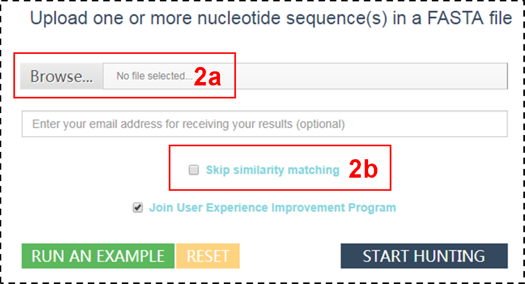 "click ""Browse"" to upload one or more nucleotide sequence(s) in a FASTA file"